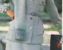 1970s Bill Blass Womens Cardigan Style Jacket, Wide Legged Pants, Skirt & Scarf Vogue Americana Sewing Pattern 1128 Size 12  Bust 34