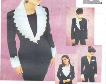 90s Christian Frances Roth Womens Jacket with Variations Vogue Sewing Pattern 1051 Size 8 Bust 31 1/2 UnCut Vogue Attitudes Patterns