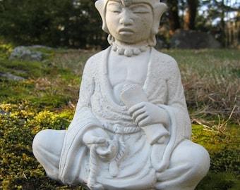 Oriental Man Meditating , Concrete Garden Statues