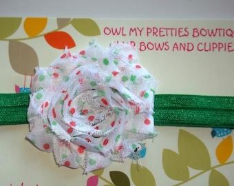 WHITE GREEN RED Dots Shabby Chiffon Frayed Flower Headband Christmas Holiday Babies Toddlers Girls