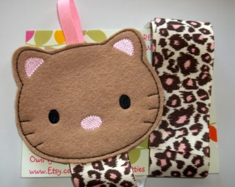 Tan Pink Leopard Print KITTY CAT Bow Clip Clippie Holder Organizer Keeper Babies Toddlers Girls