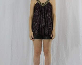 flowy purple grecian top with metallic gold embroidered thread and collar