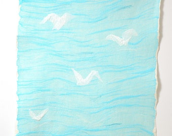 Baby blanket Sea Gull felted merino wool  - Nuno felted baby blanket - Nautical throw mat wall hanging