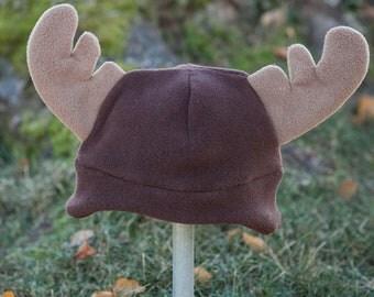 Children's Fleece Moose hat with earflaps