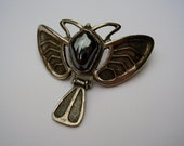 RESERVED For MJ. Instalment 1 of 3. German Jugendstil Art Nouveau Heinrich Levinger Karl Hermann Depose 900 Silver Moth Brooch Pin Hematite