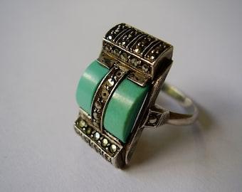 RESERVED For Cheni. Thank you! Art Deco Theodor Fahrner Gustav Braendle Pforzheim 1920s 1930s Sterling 935 Ring Marcasite Turquoise