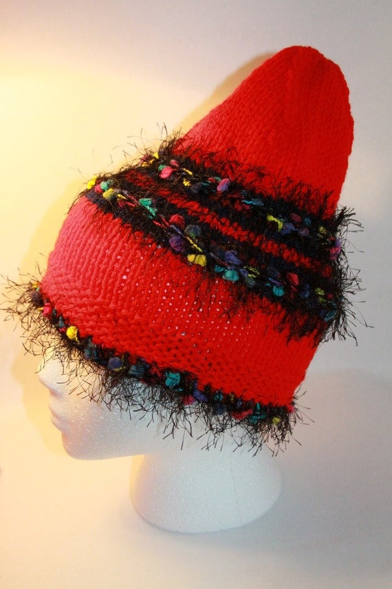 Funky Fuzzy Hat Fun Multicolor Red Black Ready to ship