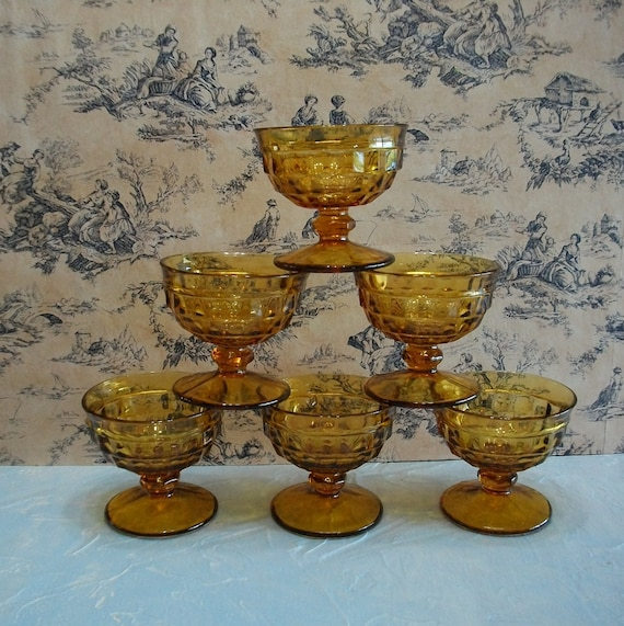Amber Glass Vintage Dessert Dishes Stemware Glasses