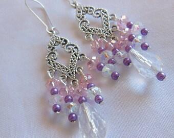 Crystal clear drops chandelier earrings E276