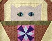 Windmill Cat Quilt Block Pattern