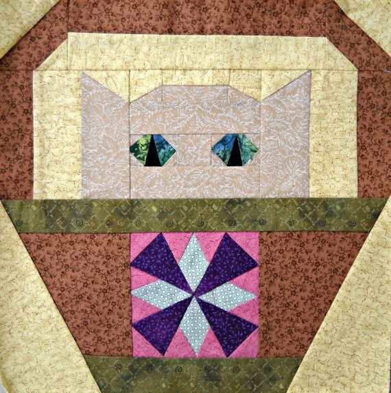 Quilt Patterns Windmill Block : Windmill Cat Quilt Block Pattern by CurlicueCreations on Etsy