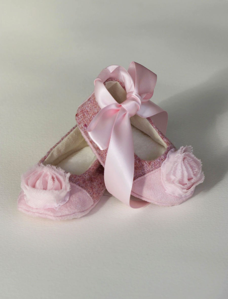Baby Shoes Pink Tweed Couture Baby Ballet Slipper by BabySouls