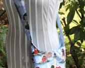 blue lighthouse saddlebag purse