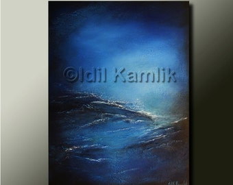 Modern Abstract Original Seascape PAINTING Contemporary Fine Art  Heavily Textured Blue Artwork by Idil Kamlik