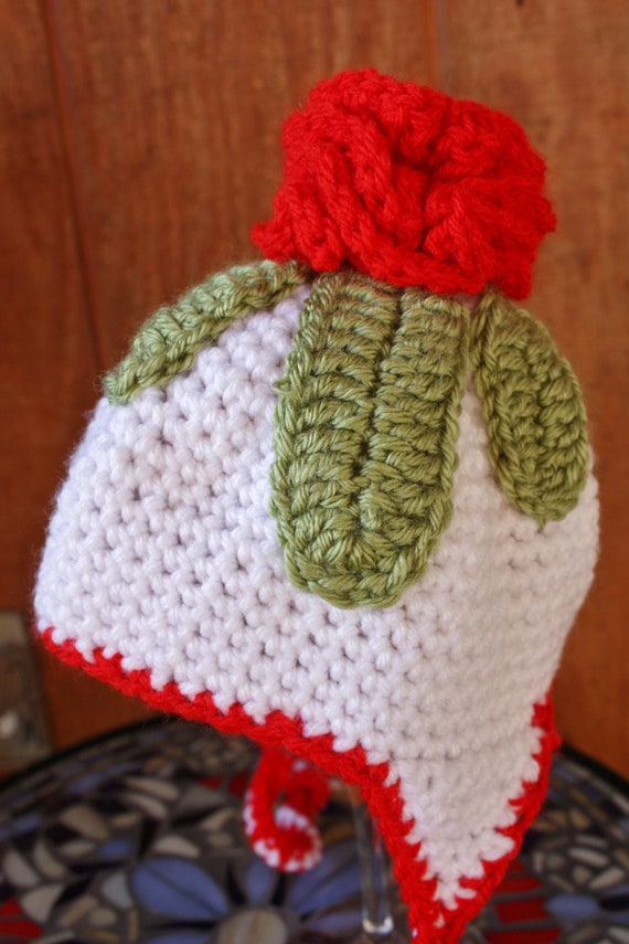 Bonnet for Baby. Rose top. 6 to 12 months.