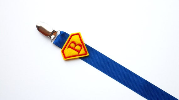 Monogram Superhero  Pacifier Clip for Baby Boy Paci Clip.. for all pacifiers you pick Soothie, Nuk, Mam Avent ect.