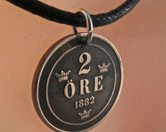antique Swedish necklace  /  Sweden Jewelry  / antique  Ore Coin /  number 2 /  choose year 1890 1898  No.00897