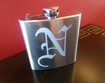 Groomsman flask, 6 ounce, Etched stainless steel personalized flask.  Groomsmen and Best Man gift