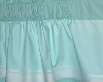 Valance AQUA COTTON 40 x 16 with WHITE Grosgrain Ribbon Trim valance curtain