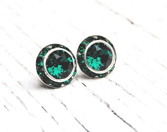 Emerald Green Earrings Swarovski Crystal Emerald Green Rhinestone Earrings Sugar Sparklers Small Stud Earrings Mashugana