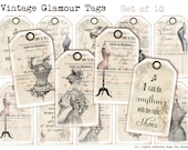 VINTAGE GLAMOUR TAGS - Hang Tags - French Chic - Instant Download - Corsets - Ephemera