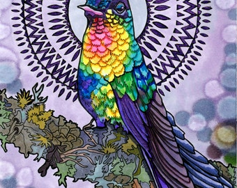 Holistic Hummingbird (Psychedelic Spiritual Mandala Haloed Rainbow Bird Drawing in Violet Marker and Reactive Shimmering Paint)
