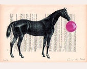 Horse with bubblegum  - Digital Illustration Print-Art Poster-Acrylic Painting- Holiday Decor-Drawing Illustration-Gift for her