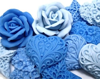 Decorative Gift Soaps - Shades of Blue - Blue Heart & Floral Soaps - SET of 10 Soaps
