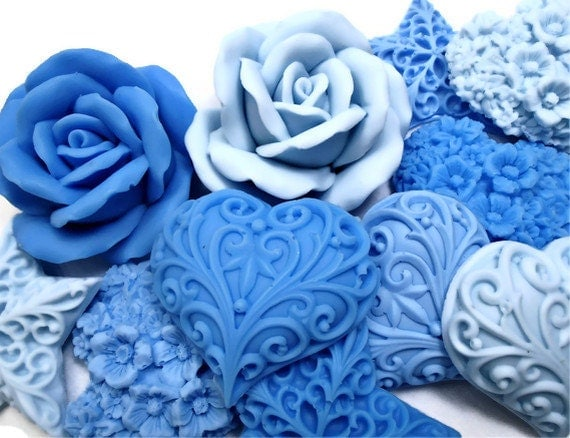 decorative gift soaps shades of blue blue heart floral