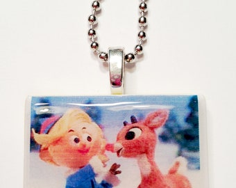 Rudolph the Red-Nosed Reindeer and The Island of Misfit Toys Game Tile Pendant