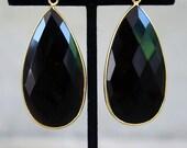 Long Black Onyx Drop Earrings