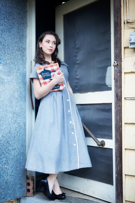 The Lucy - 1950s Vintage Shirt Dress - Grey Blue Herringbone Cotton - Reproduced From My Personal Collection