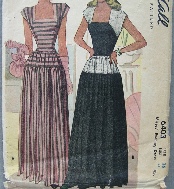 Fabulous Vintage 40's Misses Evening Dress Pattern LONG FULL SKIRT