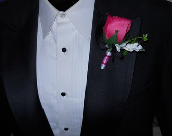 Cascading Rose Wedding Bouquet With Pink Green And Black Tear drop Shape With Matching Boutonniere