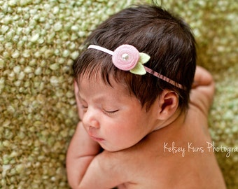 Baby Felt Flower Headband-  Tiny Spiral Rosette  in Cotton Candy Pink  - Newborn to Adult