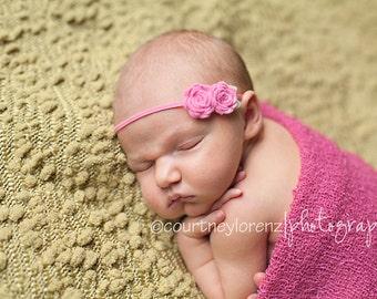 Baby Felt Flower Headband -  Pair of Wool Felt Rosebuds in Hot Pink   - Newborn to Adult