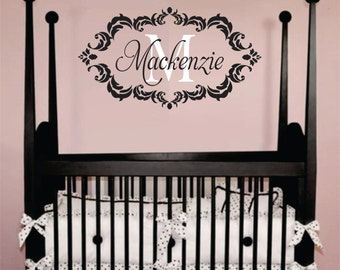 "Childrens Decor Baby Nursery Wall Decal -Personalized Monogram Wall Decal Vinyl Wall Lettering 22""x42"""