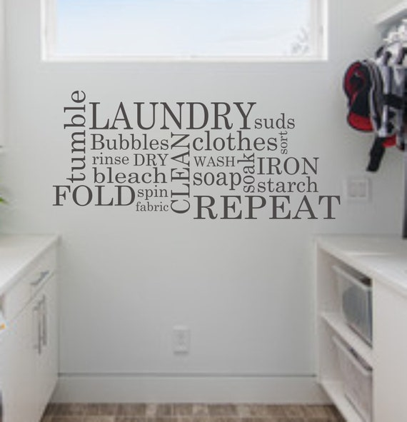 Laundry Room Wall Decor Stickers : Laundry wall decal subway room decor vinyl art