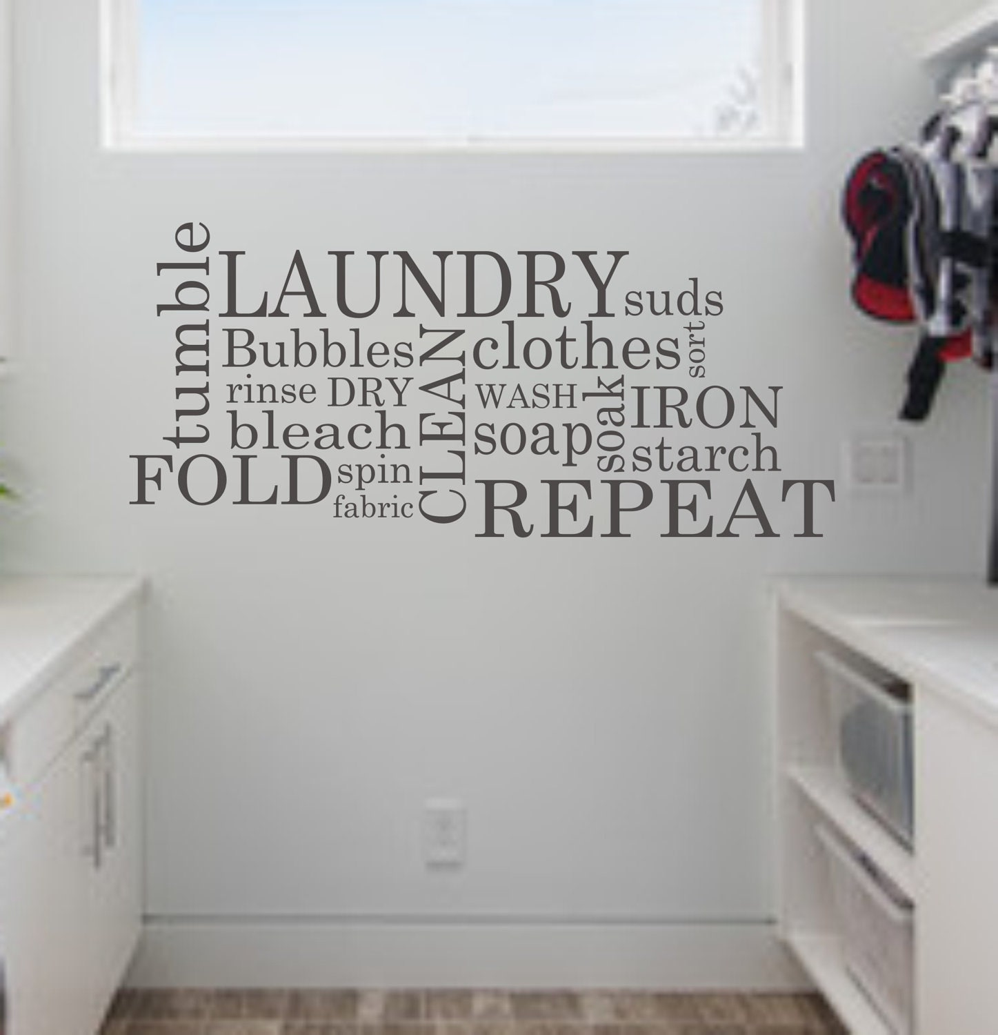Laundry wall decal subway laundry room decor vinyl wall art zoom amipublicfo Images