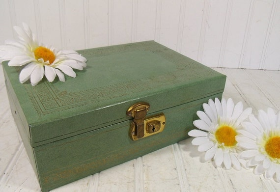 Vintage Sage Green Hard Shell Jewelry Box with Gold Trim - BoHo Shabby Chic Display Case