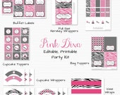 Pink and Black Zebra Party, Printable Party Supplies, Party Package, Birthday Printables -- Editable and Instant Downlad