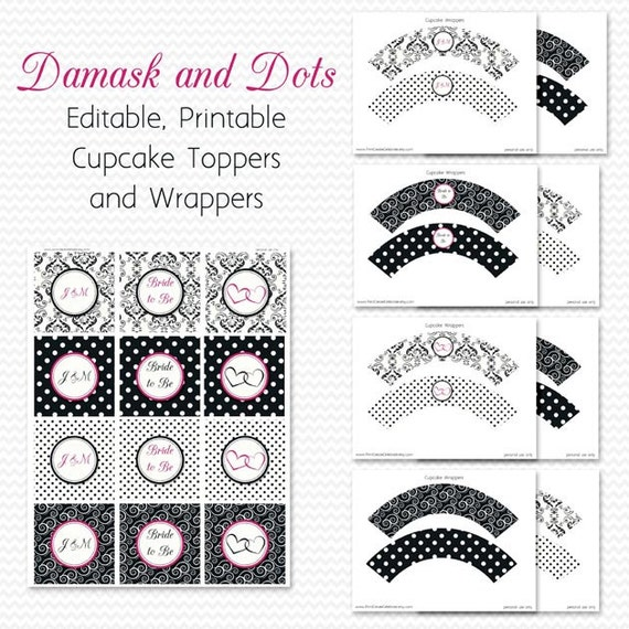Damask and Dots Cupcake Toppers, Bright Pink, Cupcake Wrappers, Bridal Shower Decor, Wedding Decoration, Birthday Party - Editable Printable