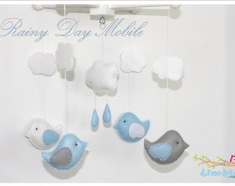 Baby Crib Mobile-Birds in the rain Mobile-custom Made Mobile