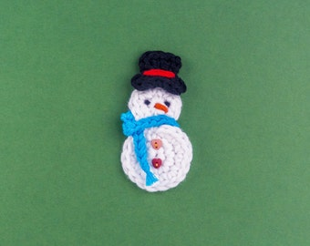 Instant Download - PDF Crochet Pattern - Snowman Applique - Text instructions and SYMBOL CHART instructions
