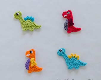 Instant Download - New PDF Crochet Pattern - Dinos Applique - Text instructions and SYMBOL Chart instructions