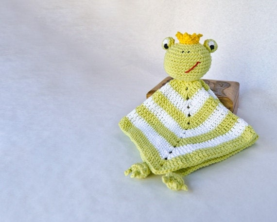 Instant Download - PDF Crochet Pattern - Frog Prince Security Blanket - Text instructions and SYMBOL CHART instructions