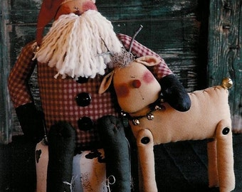CHRiStMaS EvE AgaiN- SanTa AnD ReiNDeer DoLL- PDF ePattern- Primitive and Whimsical