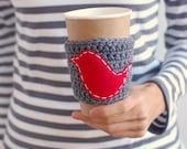 Red Bird Coffee Cup Cozy, Crochet Coffee Sleeve, Reusable Coffee Cozy, Gray with Red Bird