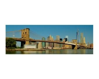 New York Photograph, Brooklyn Bridge, Panoramic, New York City, Manhattan, Freedom Tower, Urban Photography, Blue Sky, Art Print