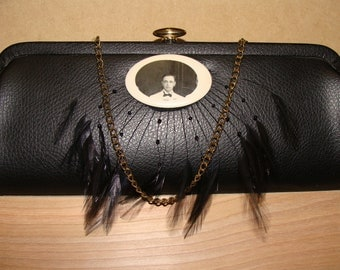 Vintage 1960s Purse Clutch Upcycled Mr. White Tuxedo Date Black Vinyl with Feathers